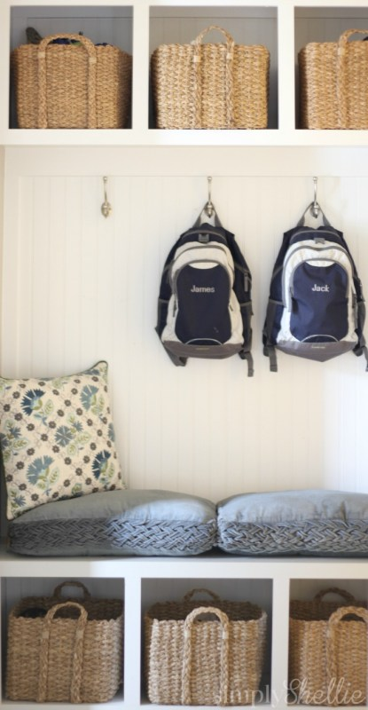 Mudroom cubbies and hooks | 100+ Beautiful Mudrooms and Entryways at Remodelaholic.com