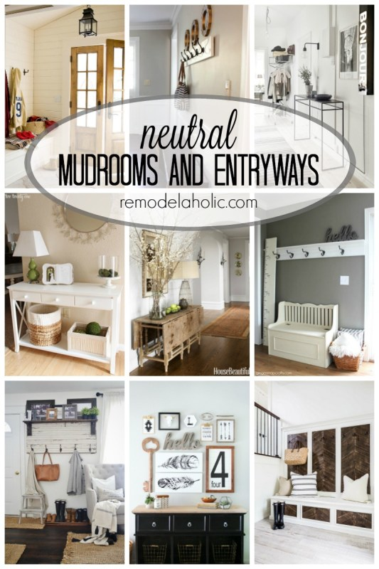Neutral Mudrooms and Entryways via remodelaholic.com