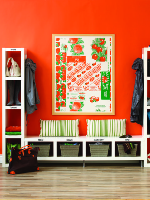 Orange Mudroom Organization, I need this bench and storage tower | 100+ Beautiful Mudrooms and Entryways at Remodelaholic.com