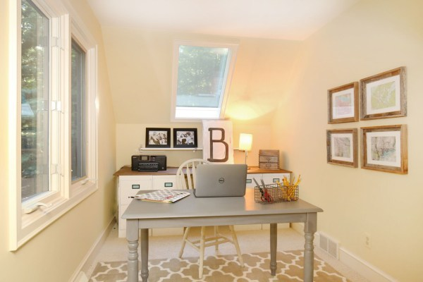 Small home office makeover with file cabinet desk (4)