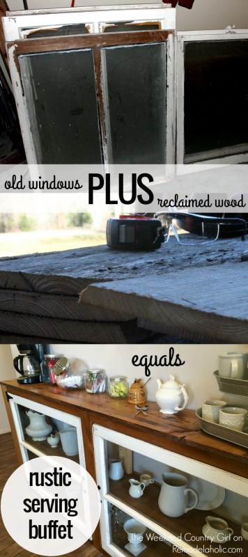 Turn old windows and some reclaimed wood into a great rustic serving buffet or console table @Remodelaholic