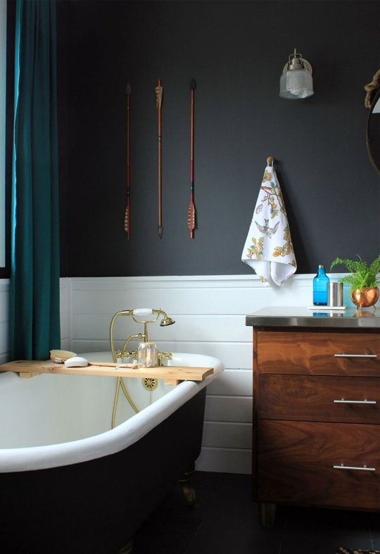 Beautiful bathroom! Wall color is Benjamin Moore Wrought Iron. More info on Remodelaholic.com