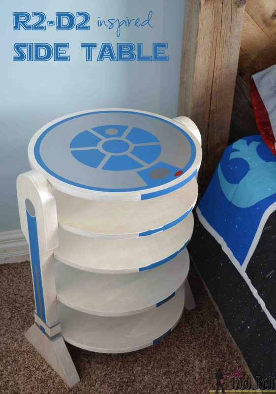 awesome R2-D2 inspired side table, every Star Wars fan needs to build one of these, by Hertoolbelt