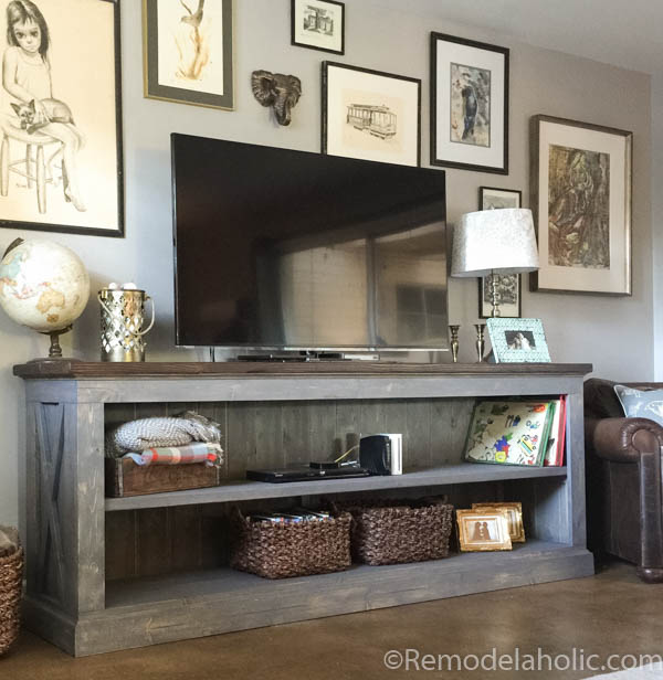 This Farmhouse Style TV Console Is Perfect For Storing Your Electronics Or Us It In