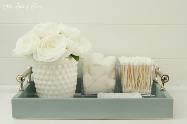 easy bathroom tray to keep the vanity top organized, Little Bits of Home