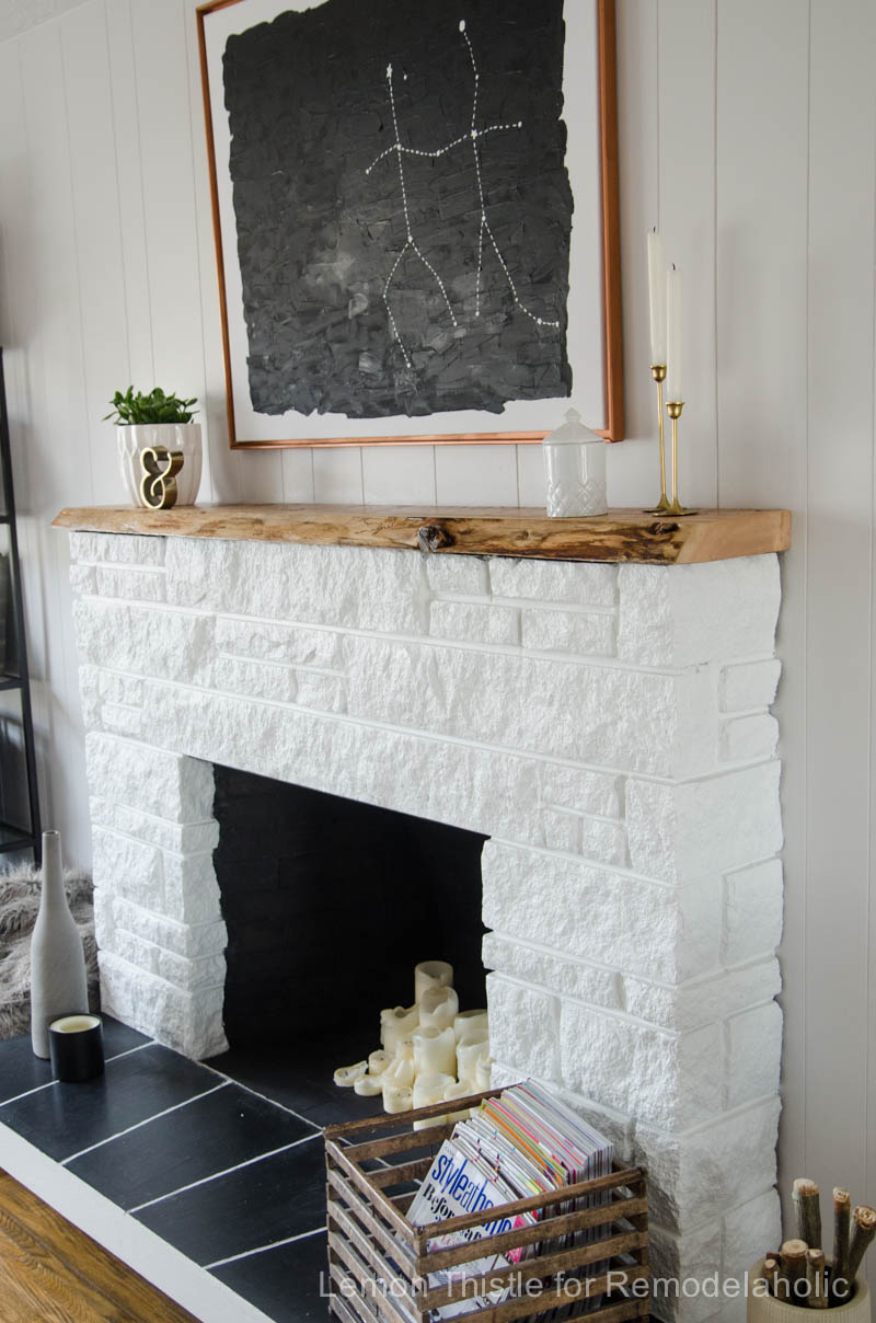 Remodelaholic Diy Stone Fireplace Update With Live Edge Wood Mantel