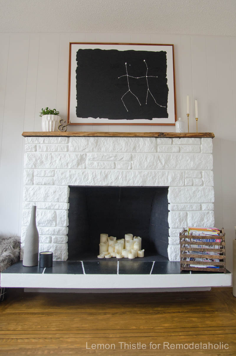 DIY STONE FIREPLACE REFRESH WITH LIVE EDGE MANTLE