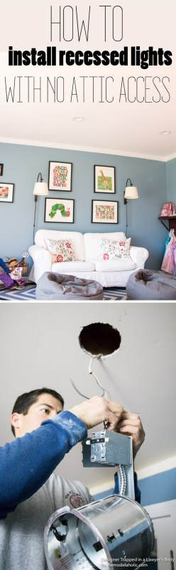 FINALLY I've figured out how to install recessed lights in our home thanks to this tutorial. I thought we couldn't do it with a room above, but we totally can!