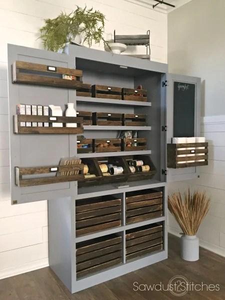 kitchen organizing, freestanding DIY pantry Sawdust2Stitches