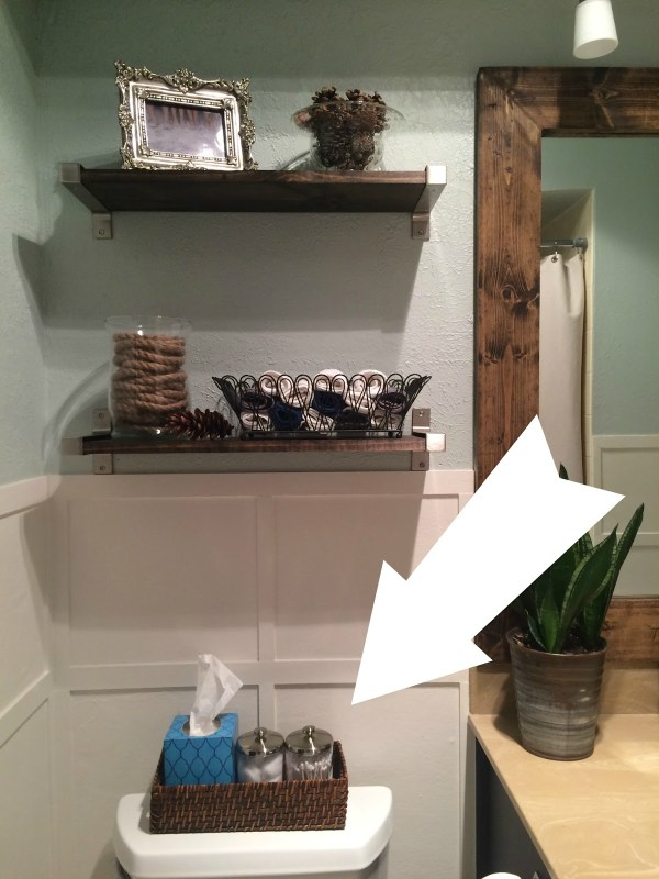 updated wicker basket with stain for back of toilet tank storage, Frazzled Joy home organization ideas