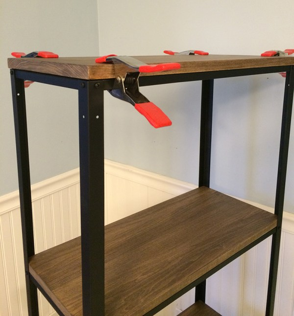 DIY Ikea hack, metal and wood shelf, by Real Happy Space featured on @Remodelaholic
