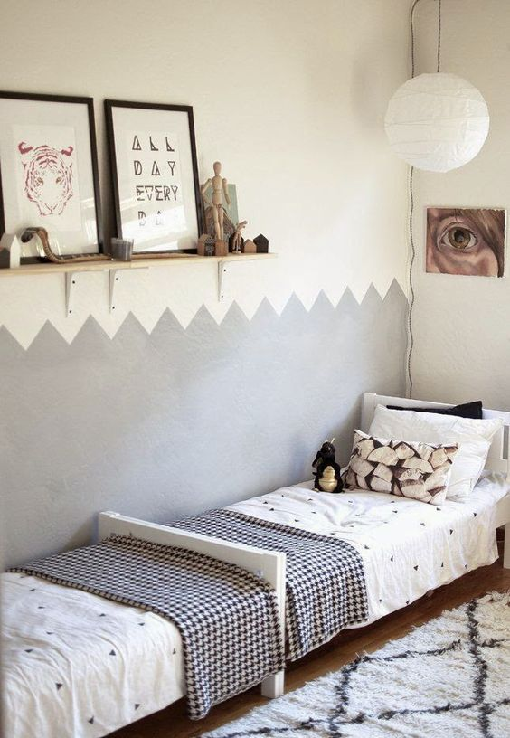 Shared Kids Space Inspiration -- zig zag painted wall, just top and bottom, with beds head to foot. I like it.