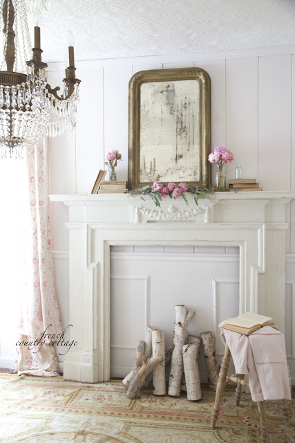 Crystal Chandelier and Faux Fireplace French Country Cottage