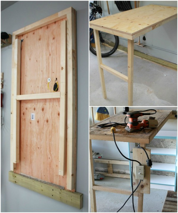 DIY fold-up work table for the garage with power switch Turtles and Tails