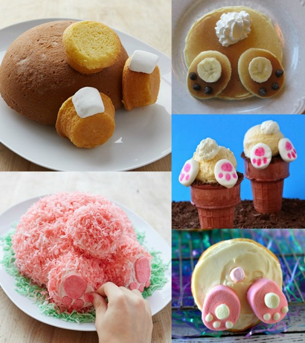 Easy Easter bunny butt treats -- cake, cookies, pancakes, and ice cream