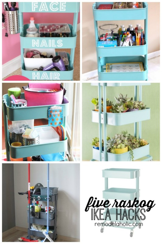 Five Raskog Ikea Hacks featured on remodelaholic.com