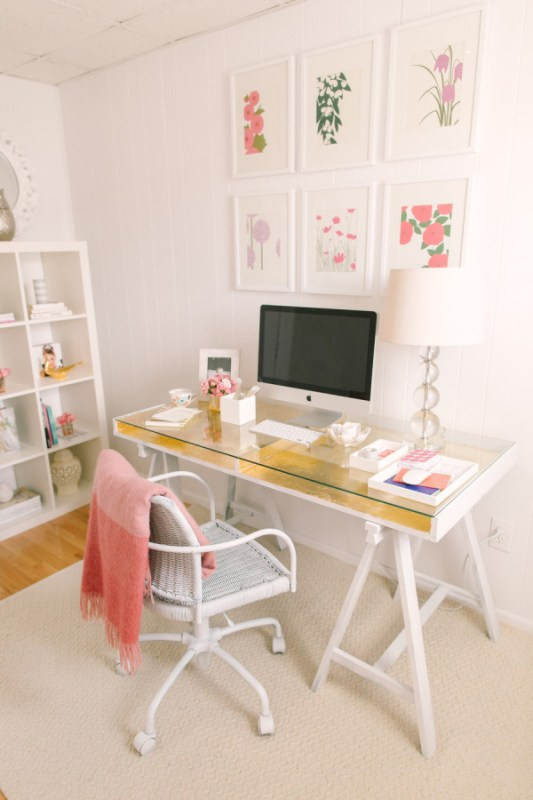 Gold Leaf Desk IKEA Hack Style Me Pretty