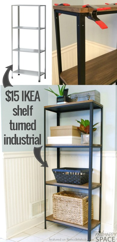 How to turn IKEA industrial -- from a cheap shelf to a beautiful wood and metal industrial style shelf Real Happy Space on @Remodelaholic