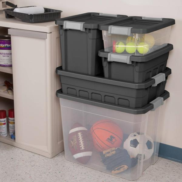 awesome bins for organizing the garage from Walmart
