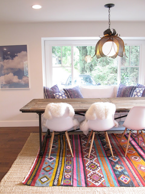 colorful southwestern rug and dining room, Amber Interior Design