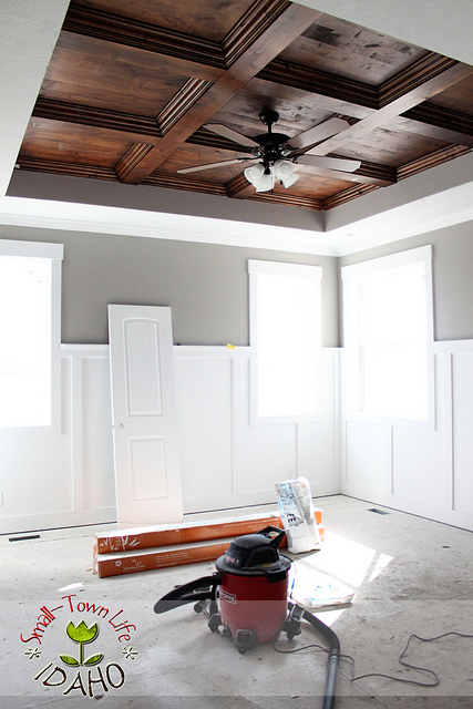 diy coffered ceiling in a master bedroom, Small Town Idaho Life