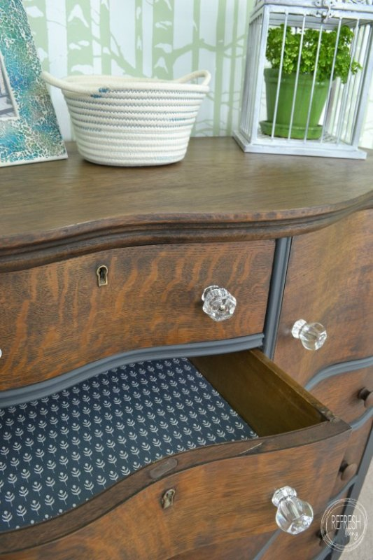 painted and stained antique dresser with lined drawers paper and fabric Refresh Living