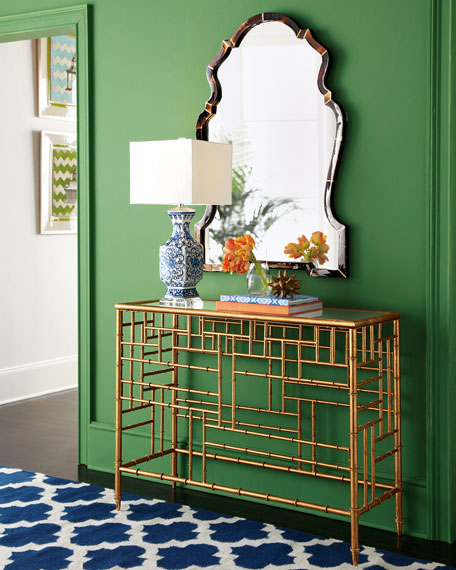 Brass Bamboo Console Table | Modern Tropical Style on Remodelaholic.com