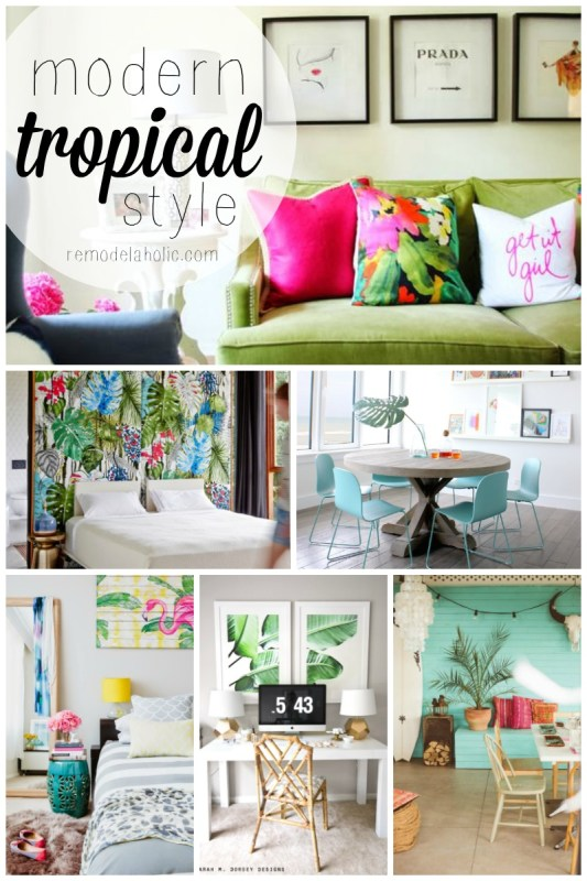 This modern tropical style is so fun and colorful! Great for a guest house or beach property, or anywhere you want to be comfortable and COLORFUL! Remodelaholic.com