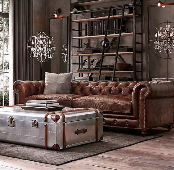 Steampunk leather sofa living room restoration hardware