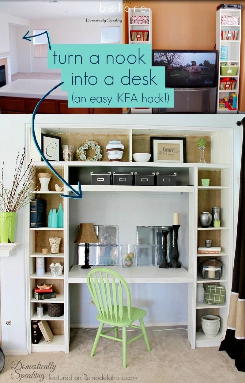 remodelaholic ikea bookcase to built in desk nook hack rh remodelaholic com ikea wardrobe with built in desk bookshelves with desk built in ikea