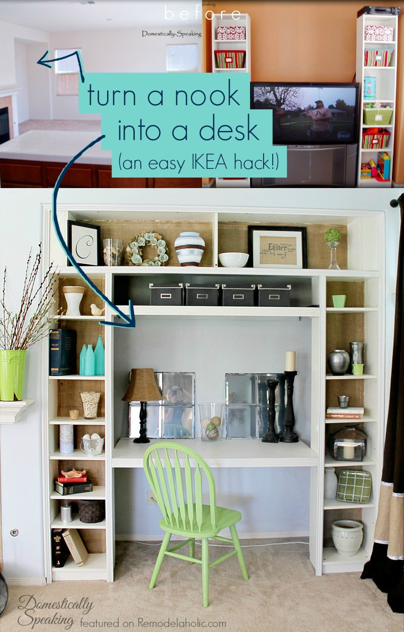 use ikea bookshelves to turn a nook or closet into a built in desk domestically - Ikea Built In Bookshelves