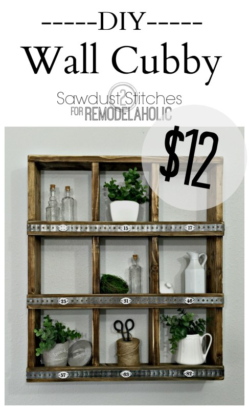 These rustic wood and metal cubbies are versatile for decor and organizing, and you can make your own DIY wall cubby shelf for around $12 with this easy tutorial! Great for beginners.