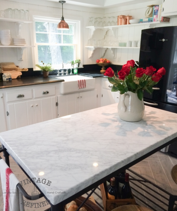 ... Marble Top And Open Bottom Completely Transform The Island In This  White Kitchen!, By