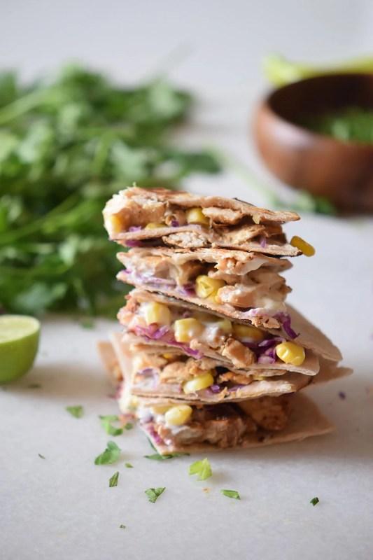 Chicken Taco Quesadillas Recipe using corn, cabbage and cheese