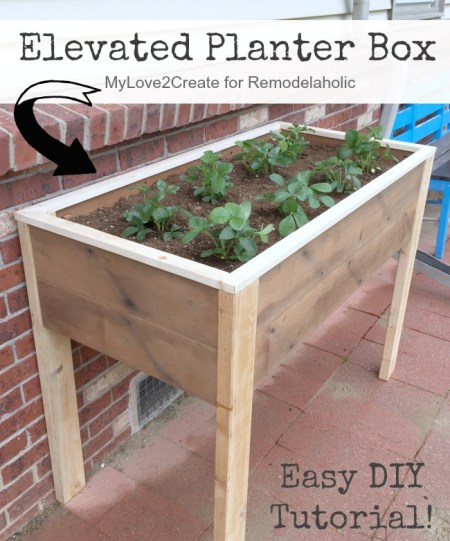 Elevated Planter Box Pin Image, MyLove2Create for Remodelaholic