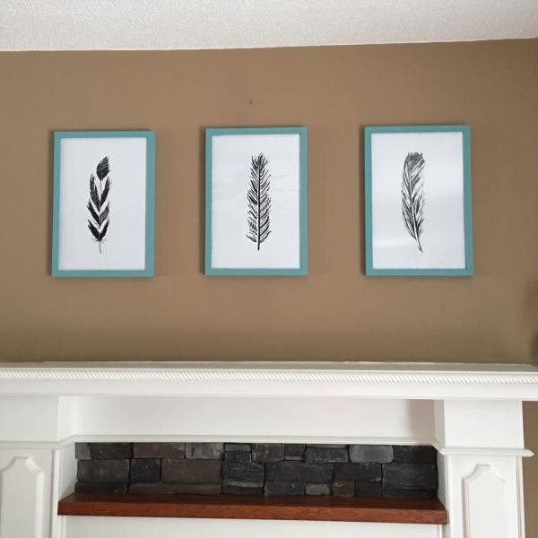 Feather Printables For Mantle By Ange, @Remodelaholic