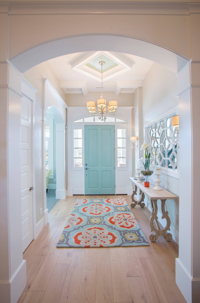 This entryway is practically perfect and gorgeous! Interior Door painted with Wythe Blue from Benjamin Moore.