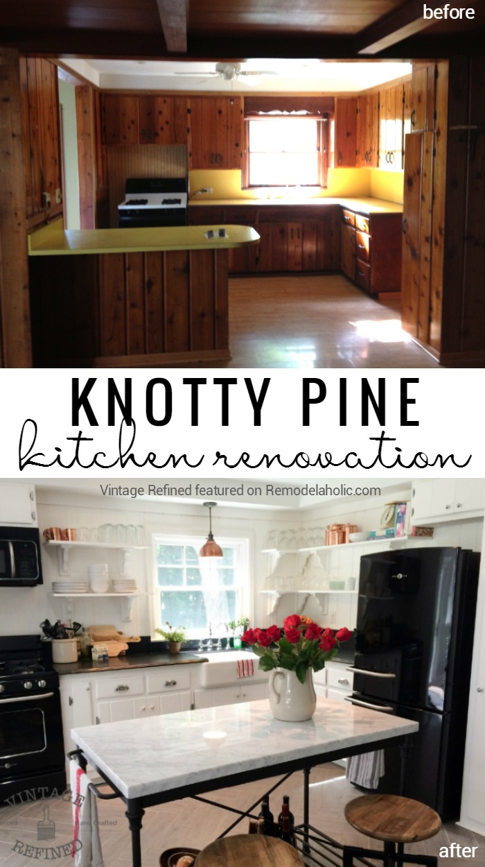 Remodelaholic Kitchen Renovation Updating Knotty Pine Cabinets