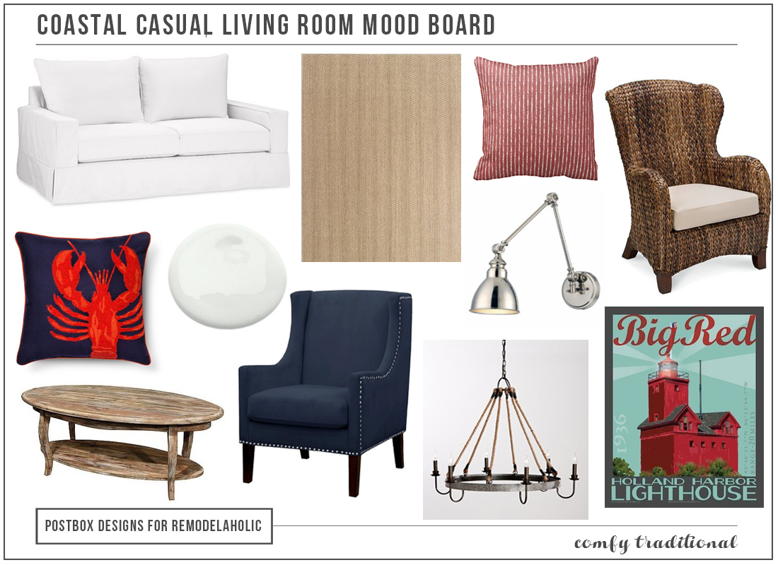Coastal Casual Living Room Mood Board by Postbox Designs for Remodelaholic.com | Create a comfortable coastal casual living room with these tips and furniture picks, plus learn decorator's tips for designing a layout for a room with little available wall space, such as an open floor plan or a room with lots of windows.