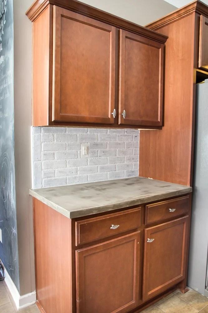 Whitewashed faux brick backsplash 16 of 18