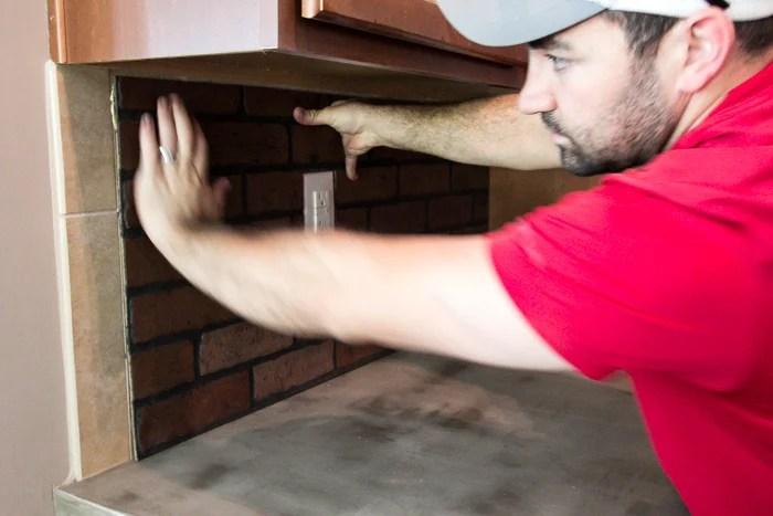 Whitewashed faux brick backsplash (8 of 18)