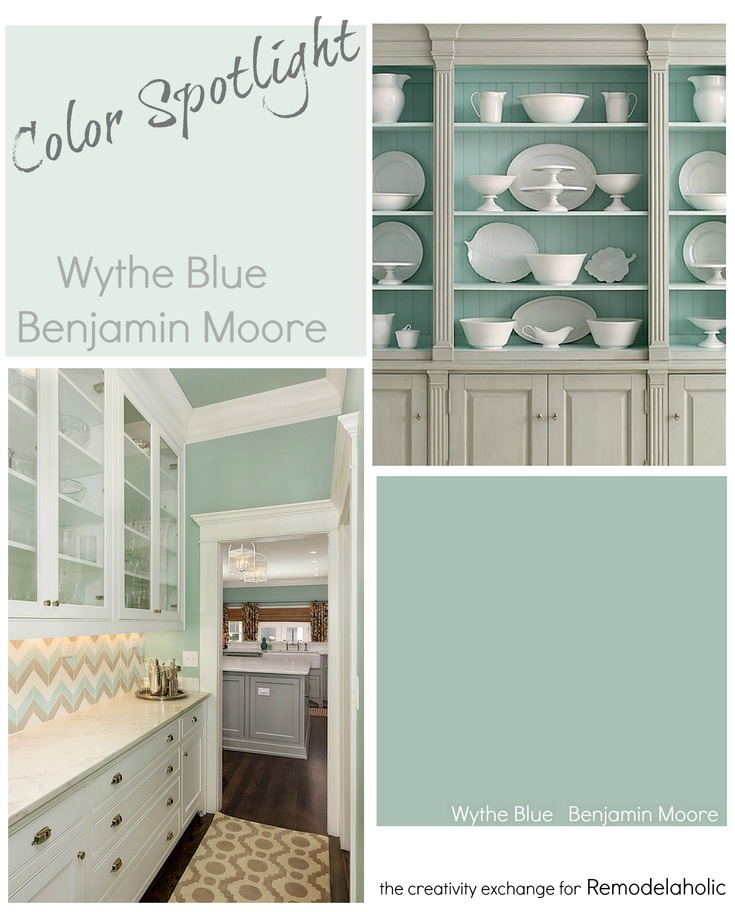 Wythe Blue from Benjamin Moore is a versatile, fresh blue paint color that works on both interiors and exteriors in a variety of lighting situations and placements. Learn more from The Creativity Exchange on Remodelaholic.com