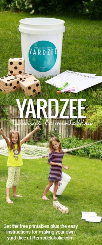 Yardzee is a fun easy summer yard game for the whole family. Easy to make a set for your own family or to give as a gift, especially with these free printables!