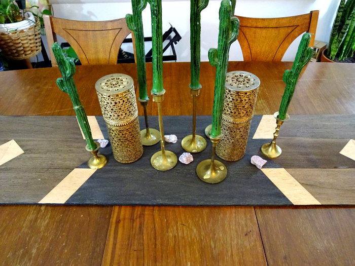 brassy and whimsical dining room table centerpiece
