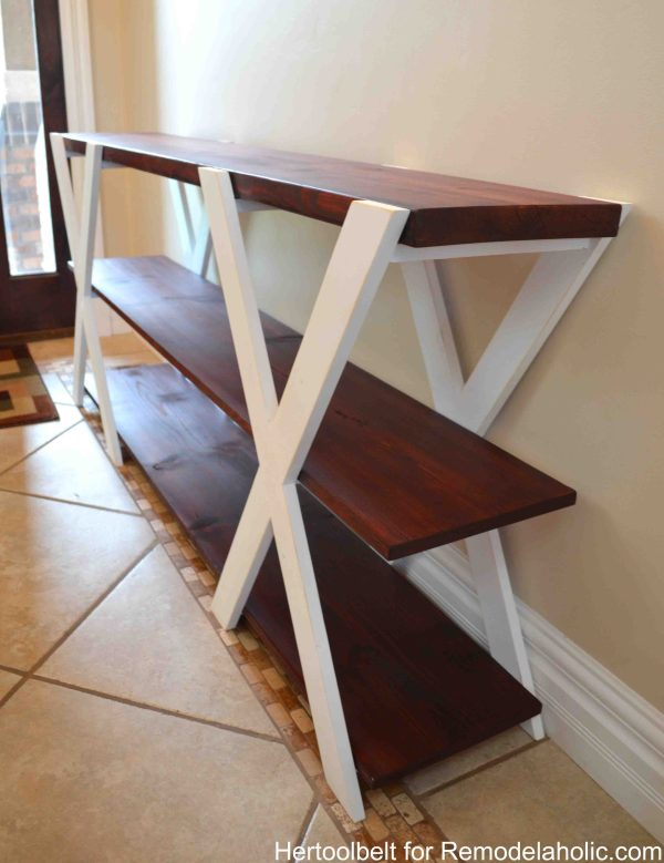 DIY double X wood farmhouse console table woodworking plans