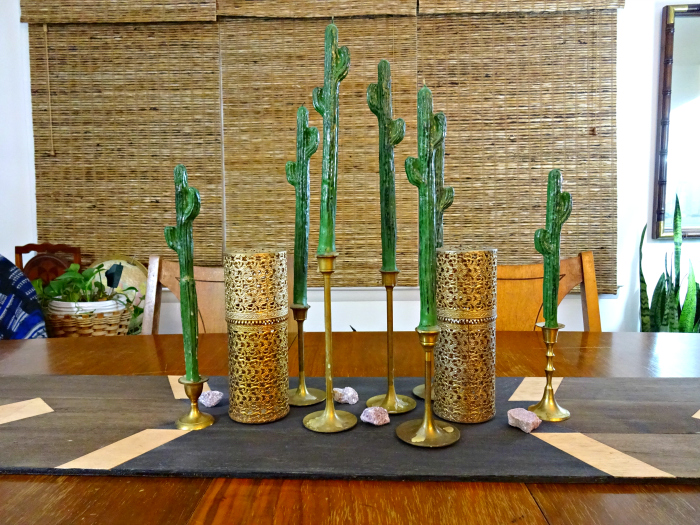 eclectic wooden table runner and decor