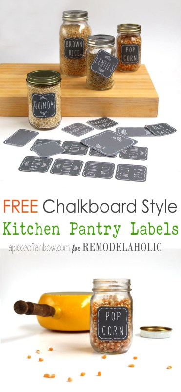 Over FIFTY free printable pantry labels to organize everything in your pantry (plus a few blank ones so you really can have matching labels on everything!) Get these cute chalkboard labels at Remodelaholic.com