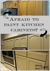 Paint kitchen cabinets by Salvage Sister and Mister featured on @Remodelaholic