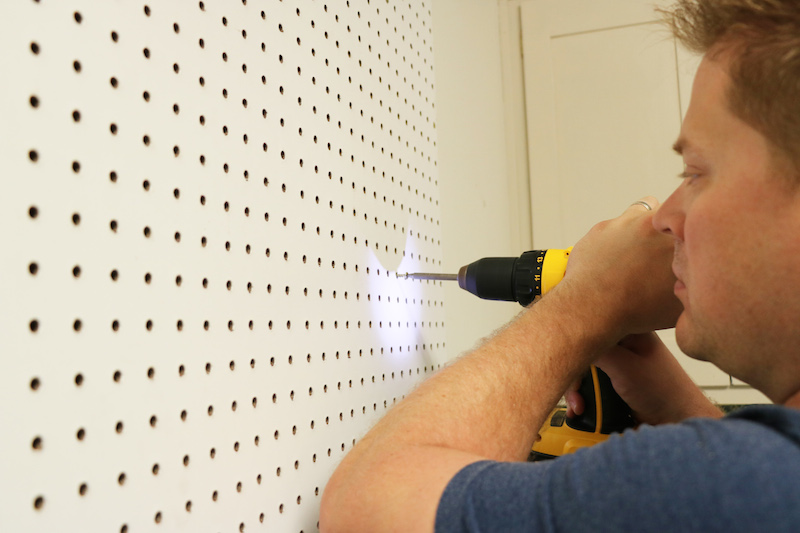 Adding Screws to Peg Board