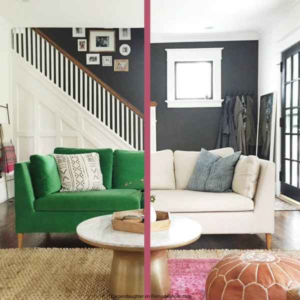 A sofa slipcover gives this IKEA Stockholm couch a whole new look and brightens up the room! Details at Remodelaholic.com